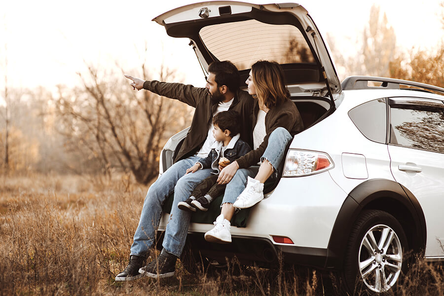 Personal Insurance - Young Parents with Child Sitting in Back of SUV in Meadow Pointing in Field